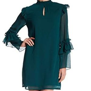 Bobeau Mock Neck Ruffle Shift Dress Size Small NWT